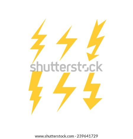 set of thunder bolts  - stock vector