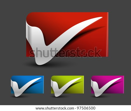 set of tick symbol on sticker background design - stock vector