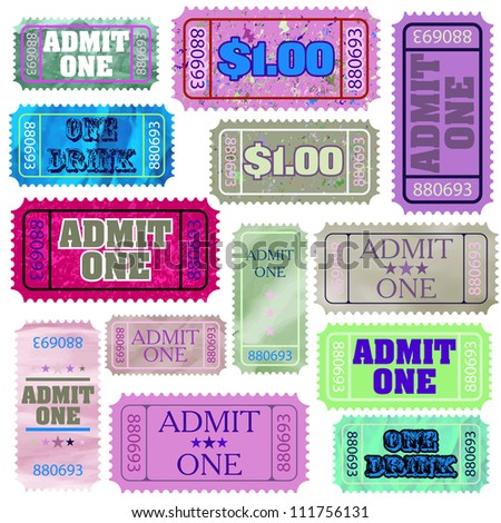 Set of ticket admit one. EPS 8 vector file included - stock vector