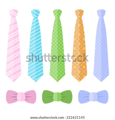 Set of Ties and Bow Ties. Vector illustration - stock vector