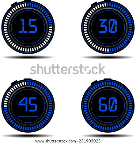 Set of timers. 15, 30, 45,  and 60 seconds. - stock vector