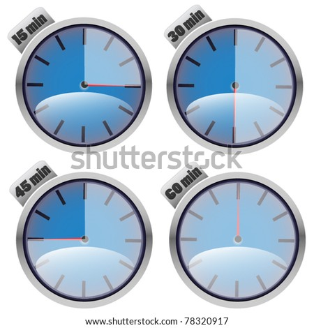 Set of timers - blue - stock vector