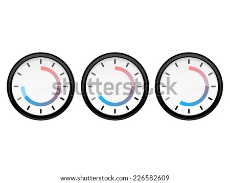.timer set 5 15 30 and 45 min vector illustration isolated