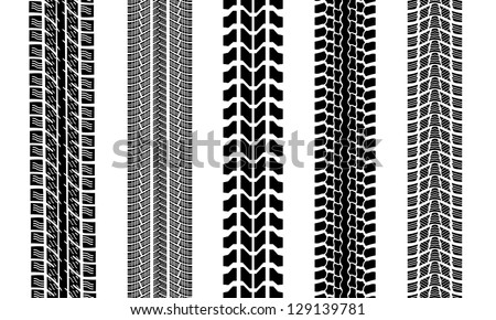 set of tire tracks isolated on white - stock vector