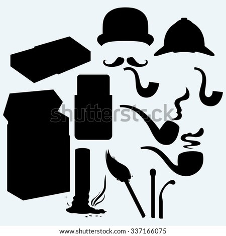 Set of tobacco pipes, cigarette butt, pack of cigarettes and match. Isolated on blue background. Vector silhouettes - stock vector