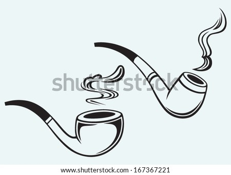 Set of tobacco pipes isolated on blue background - stock vector