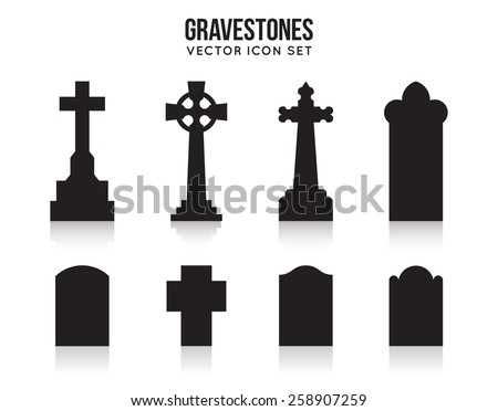 Set of tombstone silhouette icons isolated on white background. Gravestones and cross, grave and headstone. Vector illustration - stock vector