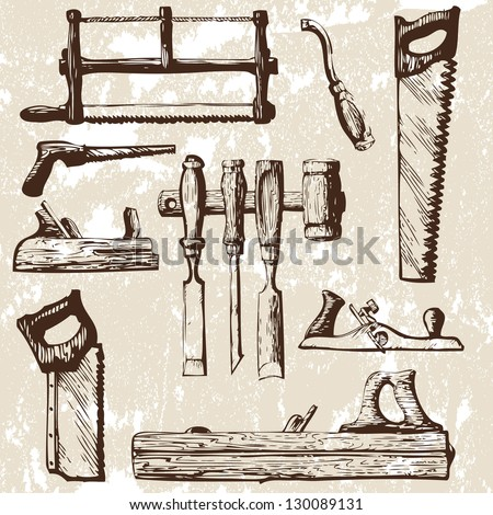 set of tools - stock vector