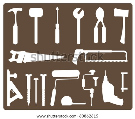 set of tools - stock vector