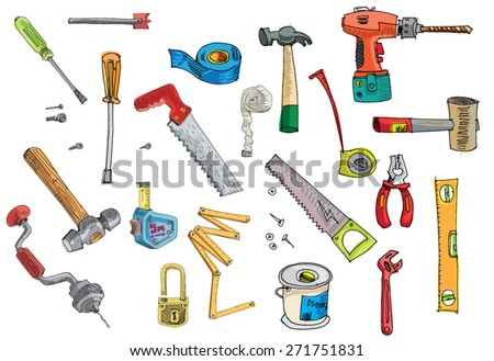 set of tools - cartoon - stock vector