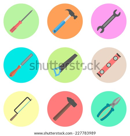set of tools in the colored circles. isolated on white background. flat design modern vector illustration