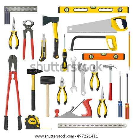set of tools on a white background