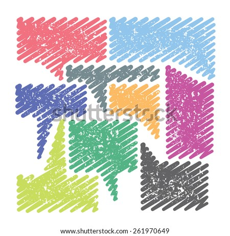 Set of tooltips that are scribbled and have grunge patterns in vivid colors - stock vector