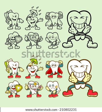 Set of tooth cartoon icons with his expression. Good use for website icon, dentist symbol, mascot, or any design you want. Easy to use, edit or change color. - stock vector