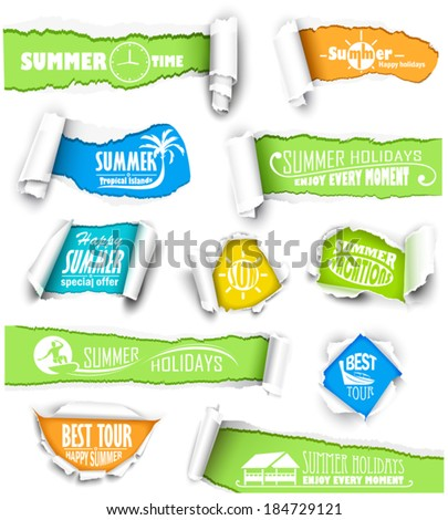 Set of torn paper - stock vector