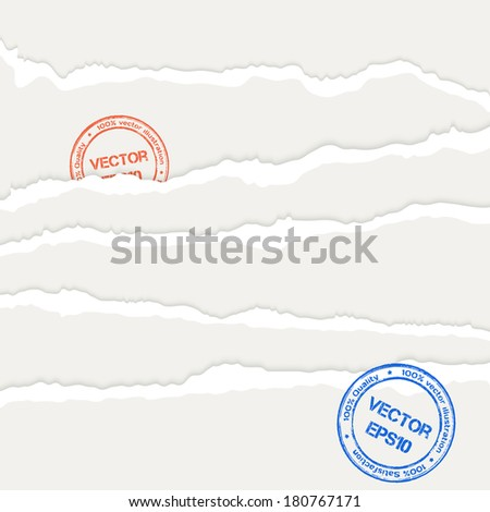Set of torn paper's sheets. Vector illustration. - stock vector
