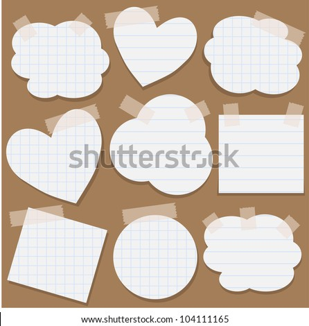 Set of torn paper stickers with scotch tape