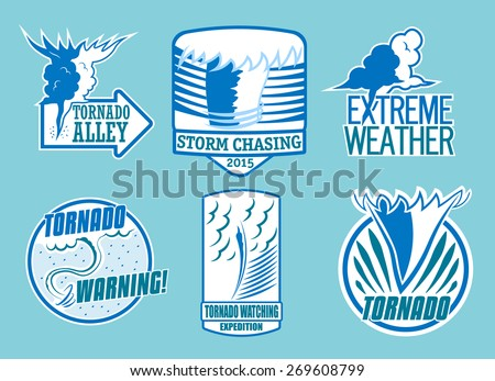 Set of tornado storm and weather emblems. Vector - stock vector
