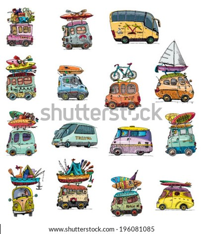 set of tour bus - vintage - cartoon - stock vector