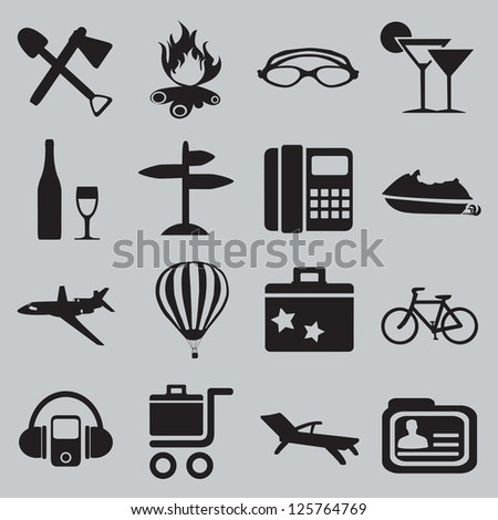 Set of tourism and recreation icons - part 2 - vector icons - stock vector