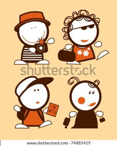Set of tourist funny peoples icons. - stock vector