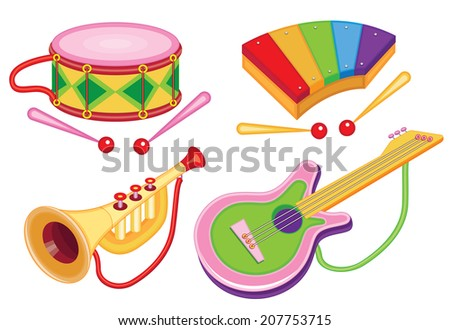 set of toy musical instruments (vector illustration) - stock vector