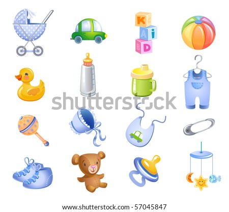 Set of toys and accessories for baby boy. - stock vector