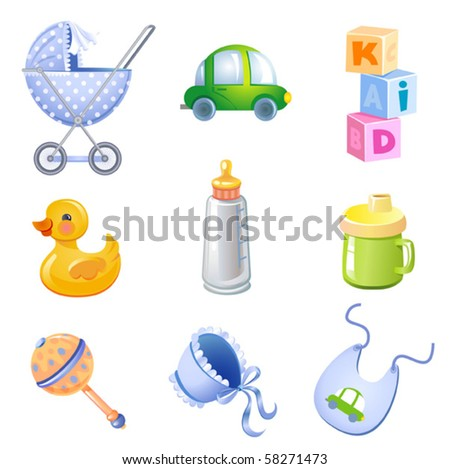 Set of 9 toys and accessories for baby boy. - stock vector