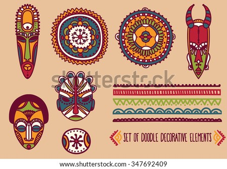 set of traditional african masks and african ornaments, vector illustration - stock vector