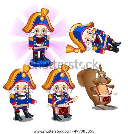 Set of traditional Christmas figurines Nutcracker with a drum and a mouse. Sketch for greeting card, festive poster or party invitations.The attributes of Christmas and New year. Vector illustration.