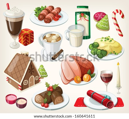 Set of traditional christmas food and desserts - stock vector