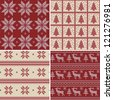 Set of traditional christmas knitted Scandinavian seamless patterns - stock vector