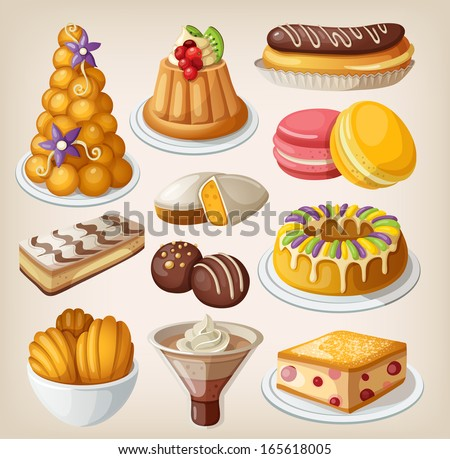 Set of traditional french desserts - stock vector