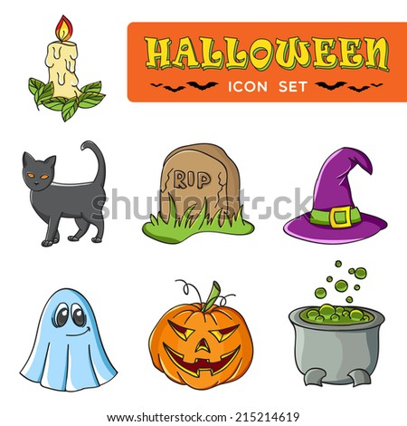 Set of Traditional Halloween Icons. Vector Illustration.