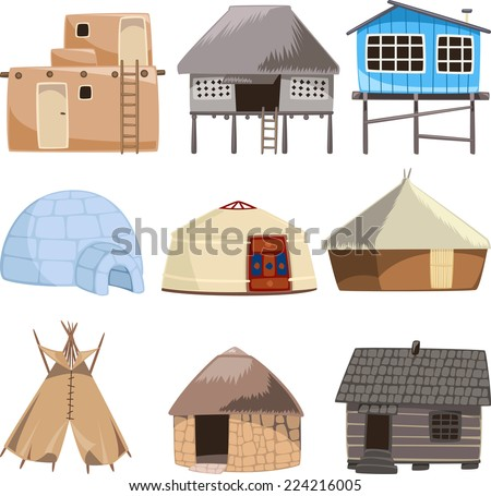 Set of traditional housed vector illustration.  - stock vector