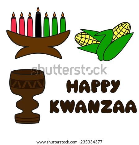 Set Traditional Kwanzaa Symbols Text Happy Stock Vector 2018