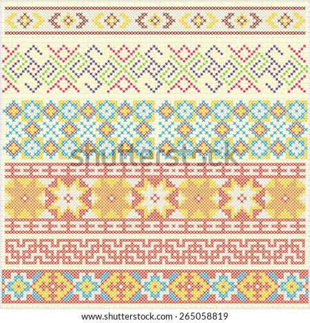 Set of traditional national embroidered patterns - stock vector