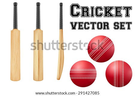 Set of Traditional wood cricket bats and balls. Vector Illustration on isolated white background. - stock vector