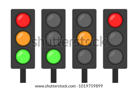 set of traffic lights icon red green and orange simple flat design go stand sign concept vector illustration