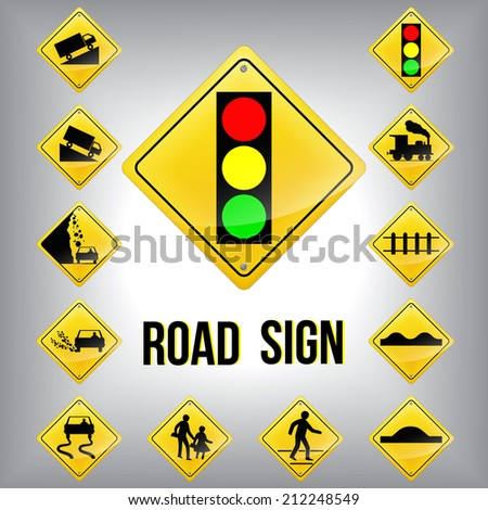 Set of traffic road sign grouped. Vector graphic