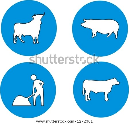 set of traffic signs, animals and works in progress - vector illustrations - stock vector