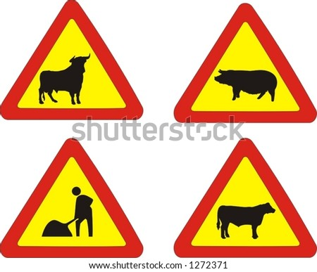 set of traffic signs, animals on the road and works in progress - vector illustrations - stock vector