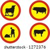 set of traffic signs, animals on the way and works in progress - vector illustrations - stock vector