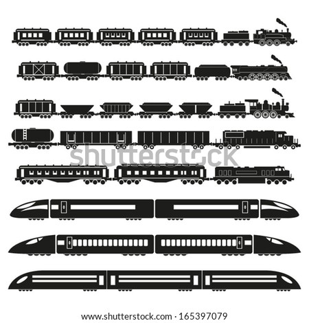 Set of trains  - stock vector