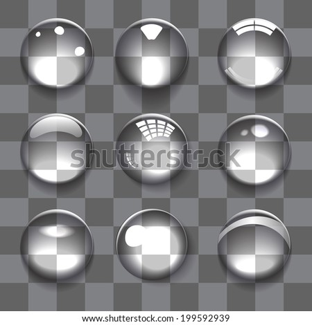 Set of transparent bubbles on color background - stock vector