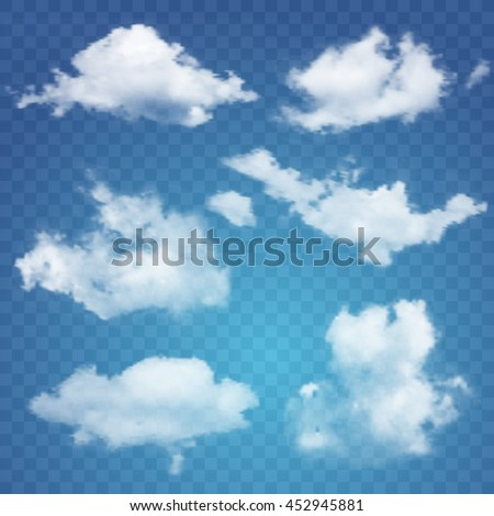 Set of transparent different clouds. Vector illustration - stock vector