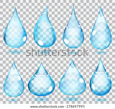 Set of transparent drops in light blue colors - stock vector