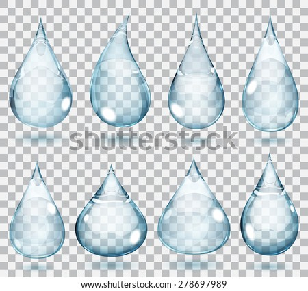 Set of transparent drops in pale blue colors - stock vector