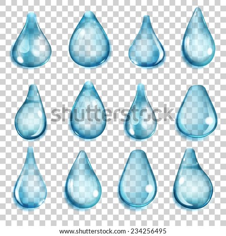 Set of transparent drops of different forms in light blue colors - stock vector