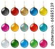 Set of transparent glass Christmas balls. Vector Illustration - stock vector